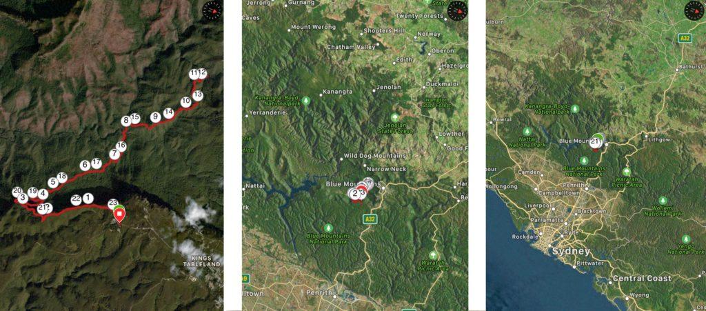 Blue Mountains Übersichts Karte Sydney